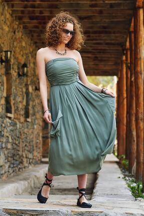 Los Banditos Kadın Limon Küfü Straplez Dekolte Kloş Günlük Elbise