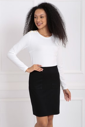 Sense Kadın Siyah Ekru Üstü Kaşkorse Altı Çelik Uzun Kol Elbise | Elb32939