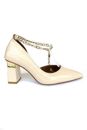 Kriste Bell Kadın Kırışık Bej Klasik Topuklu Ayakkabı