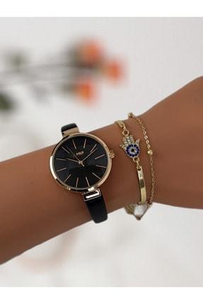 G-Sport Polo Kadın Siyah Deri Kordon Bileklik Saat Kombini