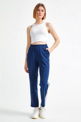 İkiler Kadın Lacivert Yanları Şeritli Beli Lastikli Pantolon 021-2006