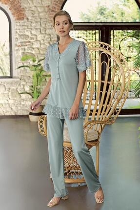 Artış Çağla Yeşili Viskon Pijama Takımı-10208-2