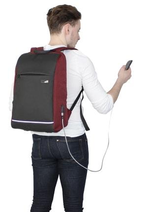 My Valice Unisex Bordo Smart Bag Usb Şarj Girişli Akıllı Sırt Çantası 1203