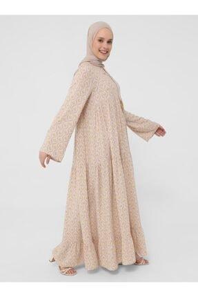 Refka Desenli Püskül Detaylı Viskon Elbise  Şafak