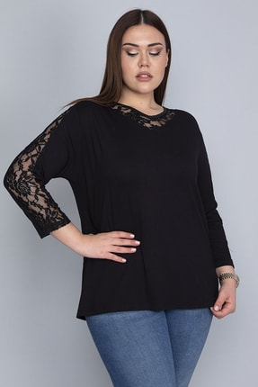 Şans Kadın Siyah Kolları Yaka Ve Sırtı V Dantelli Bluz 65N23734