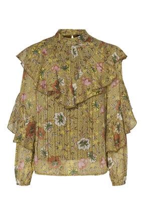 Vero Moda Kadın Yeşil Çiçek Desenli Fırfırlı Bluz
