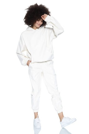 Keikei Beyaz Deri Uzun Kol Sweatshirt
