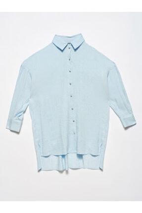 Dilvin Kadın Mavi Oversıze Gömlek 5850