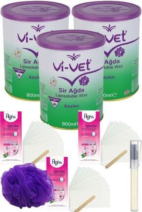 Vi-Vet Azulen Konserve Sir Ağda Seti 800ml 3lü + Bez + Lif + Kalempar/ Ağda Seti 8 Parça