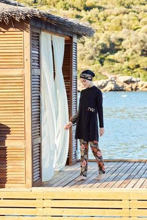 Adasea Siyah Deniz Kabuğu Detaylı Rahat Kesim Tesettür Mayo