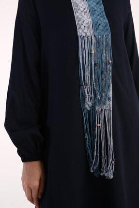 ALLDAY Lacivert Viskon Ön Dantel Detaylı Uzun Tunik