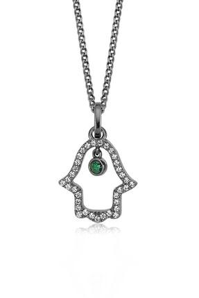 Valori Jewels Sallantılı Fatma Ana Eli, Swarovski Zirkon Yeşil Ve Beyaz Taşlı, Siyah Rodyum Gümüş Kolye