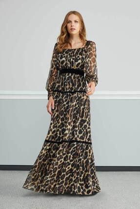 Nocturne Kadın Kahverengi Leopar Desenli Elbise