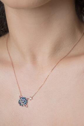 Elika Silver Kadın  Renkli Taşlı Gezegen Model Rose Altın Kaplama 925 Ayar Gümüş kolye