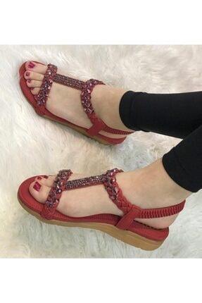 Guja Kadın Kırmızı Taşlı Ortopedik Sandalet Ayakkabı 20y122