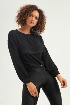Quzu Beli Büzgülü Bluz Siyah
