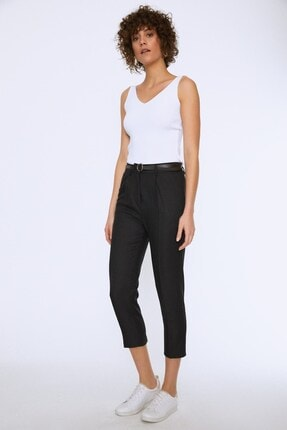 Quzu Kadın Siyah Yüksek Bel Kemerli Pantolon - 20k70651-001