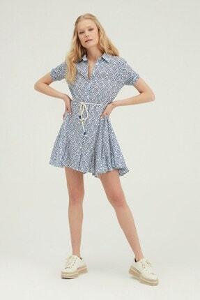 Quzu Gömlek Yaka Volanlı Mini Elbise Mavi