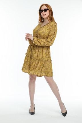 Pitti Kadın Hardal Emprime Desenli Elbise 51108