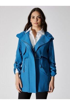 Vekem Kadın Mavi Kapüşonlu Belden Büzgülü Trençkot