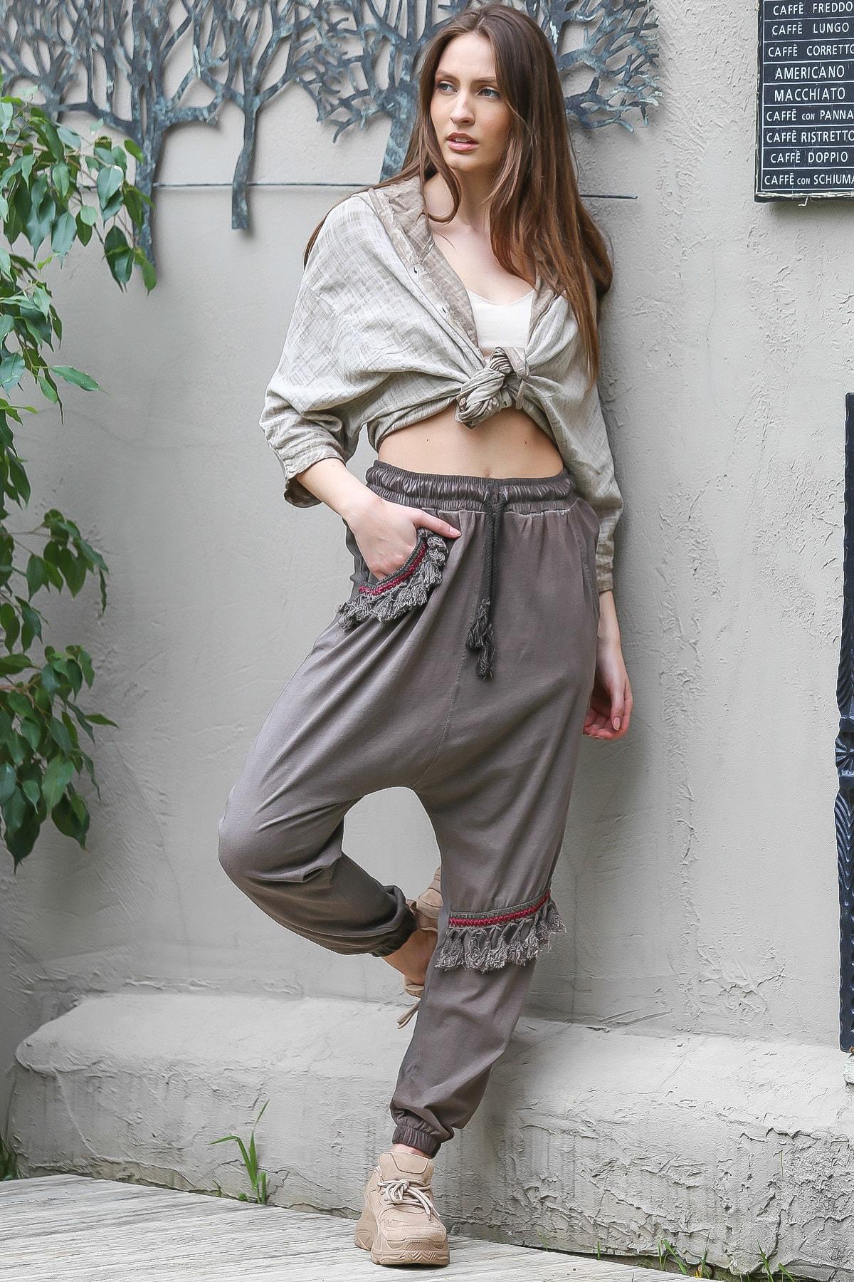 Chiccy Kadın Vizon Cebi Ve Diz Altı Püskül Detaylı Lastikli Yıkamalı Şalvar Pantolon M10060000PN98856