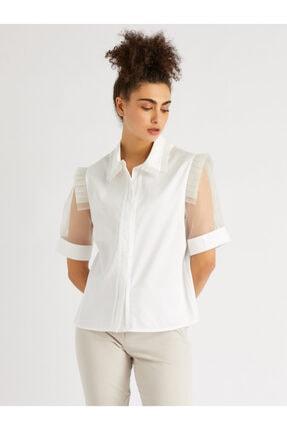 Vekem Kadın Ekru Şifon Kollu Omuzda Fırfır Detaylı Gömlek 9106-0029