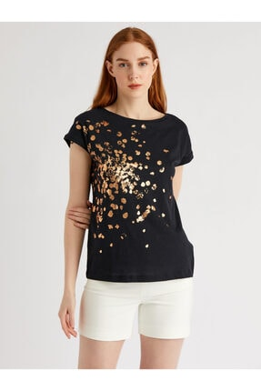 Vekem Kadın Siyah Sim Baskılı %100 Pamuk T-Shirt 9113-0002