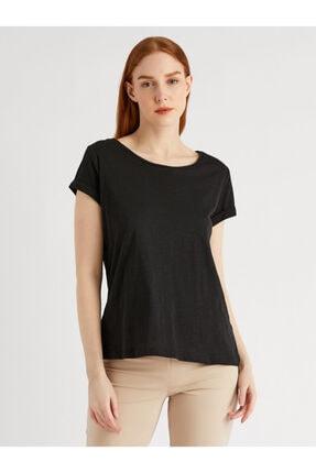 Vekem Kadın Siyah Sıfır Yaka T-Shirt 9113-0007