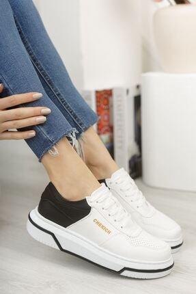 Chekich Kadın  Beyaz Siyah Ayakkabı Ch075