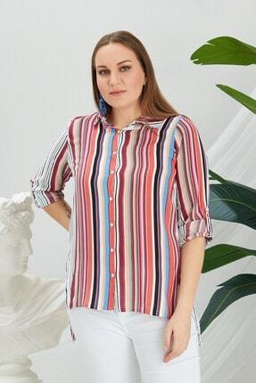 Rmg Kadın Mercan Çizgi Desenli Gömlek