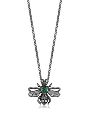 Valori Jewels Kraliçe Arı, Swarovski Zirkon Yeşil Ve Beyaz Taşlı, Siyah Rodyum Gümüş Kolye
