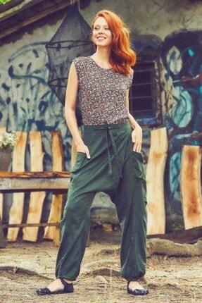 Los Banditos Kadın Haki Kruvaze Beli Bağcıklı Elastik Paça Şalvar Pantolon