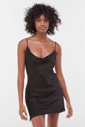 Bershka Kadın Siyah Saten Kamisol Mini Elbise
