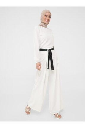 Refka Şerit Kemerli Aerobin Pantolon Etek - Ekru - Woman