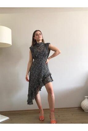 Bsl Kadın Siyah Asimetrik Etek Ucu Detaylı Şifon Elbise
