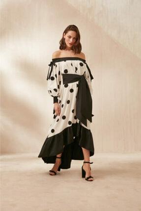 Nocturne Kadın Siyah Düşük Yaka Puantiye Desenli Elbise