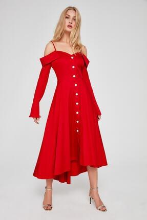 Nocturne Kırmızı Ön Düğme Detaylı Elbise