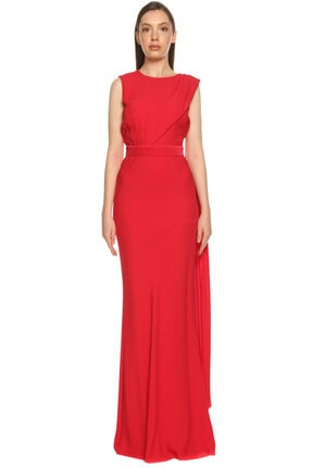 Alexander McQueen Kadın Kırmızı Gece Elbisesi