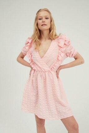 Quzu Kadın Pembe Kruvaze Balon Kol Mini Elbise