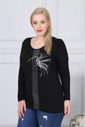 Günay Kadın Bluz Rg6800 O Yaka Taş Detay Uzun Kol Ince Triko-sıyah