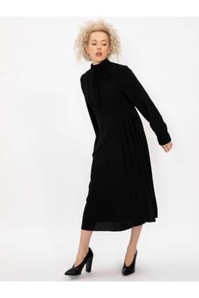 Vekem Kadın Siyah Yakası Bağlamalı Uzun Kollu Midi Elbise