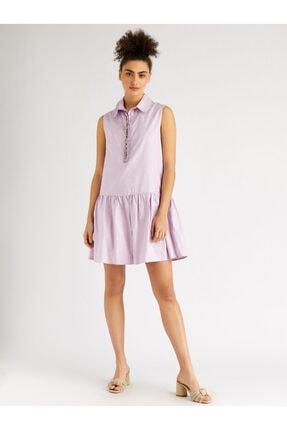 Vekem Kadın Pembe Taş Detaylı Gömlek Yaka Elbise