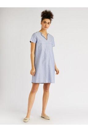 Vekem Kadın Mavi Çizgili Rahat Kesim Pamuklu Elbise 9109-0084