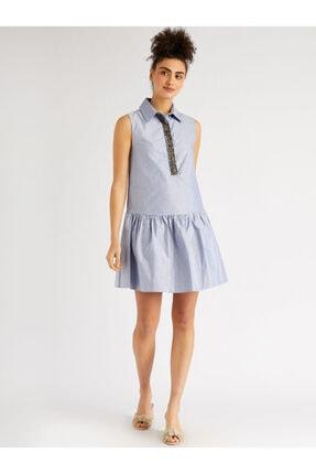 Vekem Kadın Mavi Taş Detaylı Gömlek Yaka Elbise 9109-0120