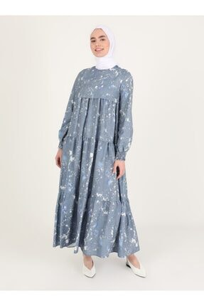 Loreen Kadın Mor Desenli Elbise