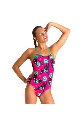Arena W Crazy Monkeys Tie Back One Piece Kadın Pembe Yüzücü Mayo 002831906