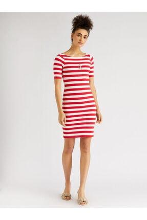 Vekem Kadın Kırmızı Çapa Detaylı Çizgili Elbise