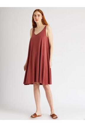 Vekem Kadın Bordo Askılı Rahat Kesim Elbise