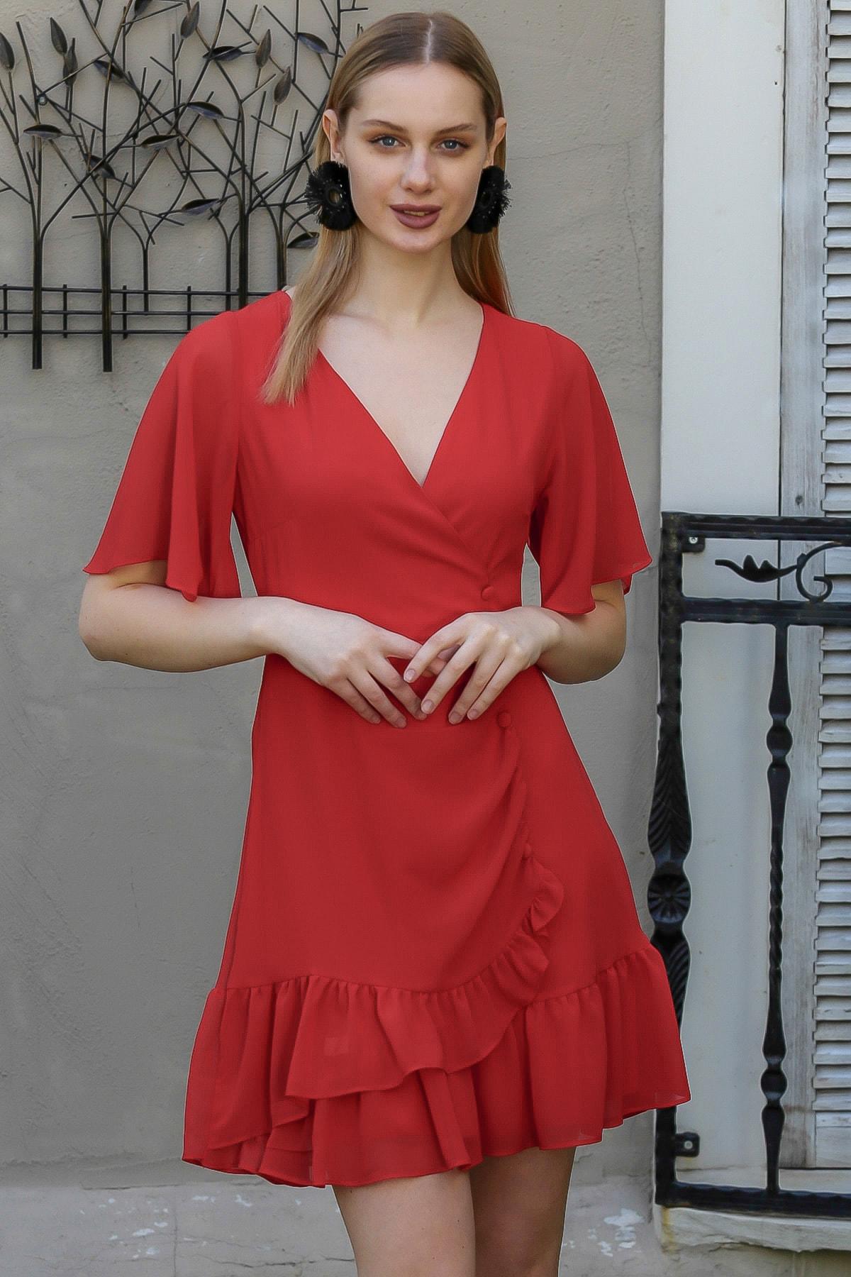 Chiccy Kadın Kırmızı Kruvaze Kaplama Düğme Detaylı Fırfırlı Astarlı Şifon Elbise M10160000EL94964