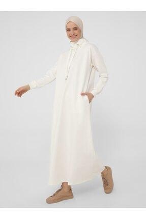 Refka Kadın Beyaz Boğazlı Yaka Cepli Elbise